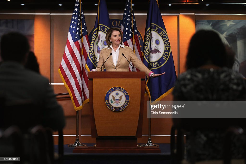 House Minority Leader <a gi-track='captionPersonalityLinkClicked' href=/galleries/search?phrase=Nancy+Pelosi&family=editorial&specificpeople=169883 ng-click='$event.stopPropagation()'>Nancy Pelosi</a> (D-CA) holds her weekly news conference at the U.S. Capitol June 25, 2015 in Washington, DC. Pelosi said she was jubilant after the Supreme Court handed down a 6-3 decision that the Affordable Care Act authorized federal tax credits for eligible Americans living not only in states with their own exchanges but also in the 34 states with federal exchanges, a major victory for Democrats and President Barack Obama.