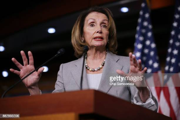 House Minority Leader Nancy Pelosi holds her weekly news conference in the US Capitol Visitors Center November 30 2017 in Washington DC Pelosi said...