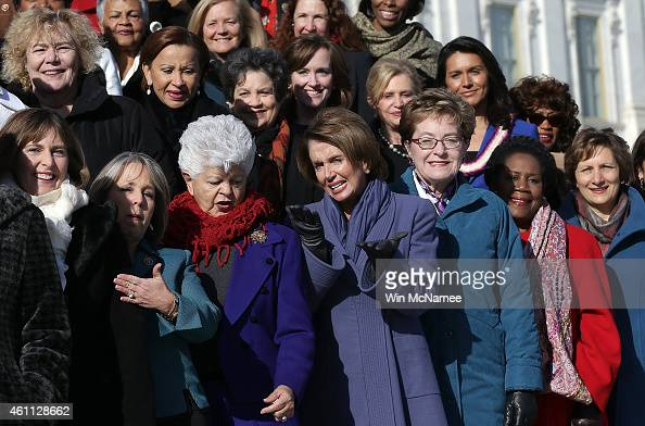 House Minority Leader Nancy Pelosi joins the 65 House Democratic women elected to the 114th Congress gather on the steps of the US Capitol for a...