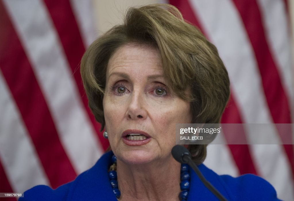 House Minority Leader <a gi-track='captionPersonalityLinkClicked' href=/galleries/search?phrase=Nancy+Pelosi&family=editorial&specificpeople=169883 ng-click='$event.stopPropagation()'>Nancy Pelosi</a> speaks about gun violence during a meeting of the House Democratic Steering and Policy Committee on Capitol Hill in Washington, DC, on January 16, 2013. AFP PHOTO / Saul LOEB