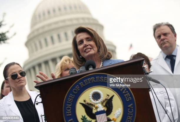 House Minority Leader Nancy Pelosi speaks at a news conference with health care providers outside the US Capitol June 22 2017 in Washington DC Pelosi...