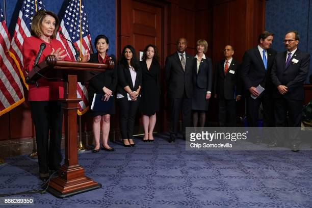 House Minority Leader Nancy Pelosi speaks during a news conference with fellow Democrats 'Dreamers' and university presidents and chancellors to call...