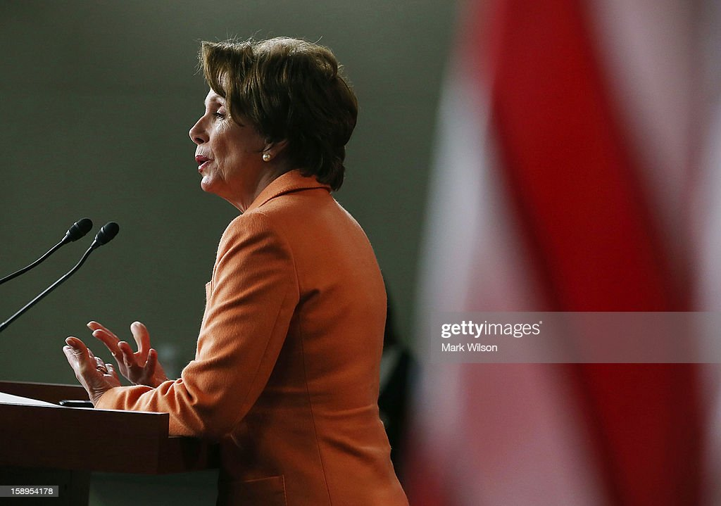 House Minority Leader <a gi-track='captionPersonalityLinkClicked' href=/galleries/search?phrase=Nancy+Pelosi&family=editorial&specificpeople=169883 ng-click='$event.stopPropagation()'>Nancy Pelosi</a> (D-CA) speaks to the media during her weekly news conference, on January 4, 2013 in Washington, DC. Pelosi spoke about the Democratic agenda for the new 113th Congress.
