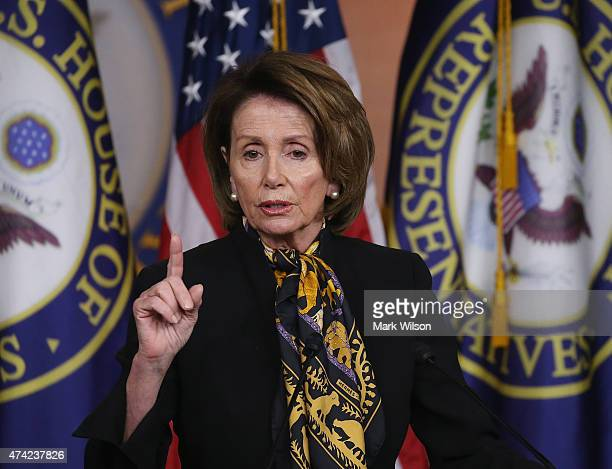 House Minority Leader Nancy Pelosi speaks to the media on Capitol Hill May 21 2015 in Washington DC Pelosi spoke about issues before Congress during...