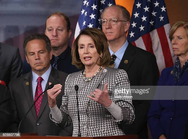 House Minority Leader Nancy Pelosi speaks while flanked by House Democrats during a news conference to discuss HR3185 the 'Equity Act' which would...