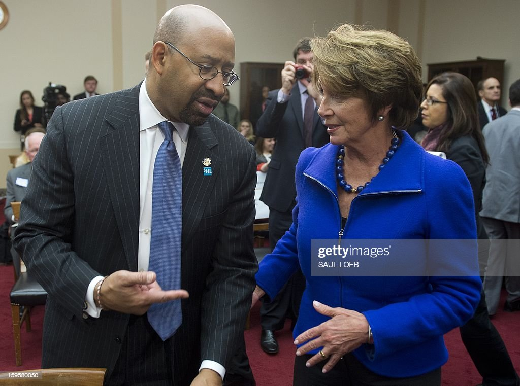 House Minority Leader <a gi-track='captionPersonalityLinkClicked' href=/galleries/search?phrase=Nancy+Pelosi&family=editorial&specificpeople=169883 ng-click='$event.stopPropagation()'>Nancy Pelosi</a> speaks with Philadelphia Mayor Michael Nutter prior to a meeting of the House Democratic Steering and Policy Committee about gun safety on Capitol Hill in Washington, DC, on January 16, 2013. AFP PHOTO / Saul LOEB