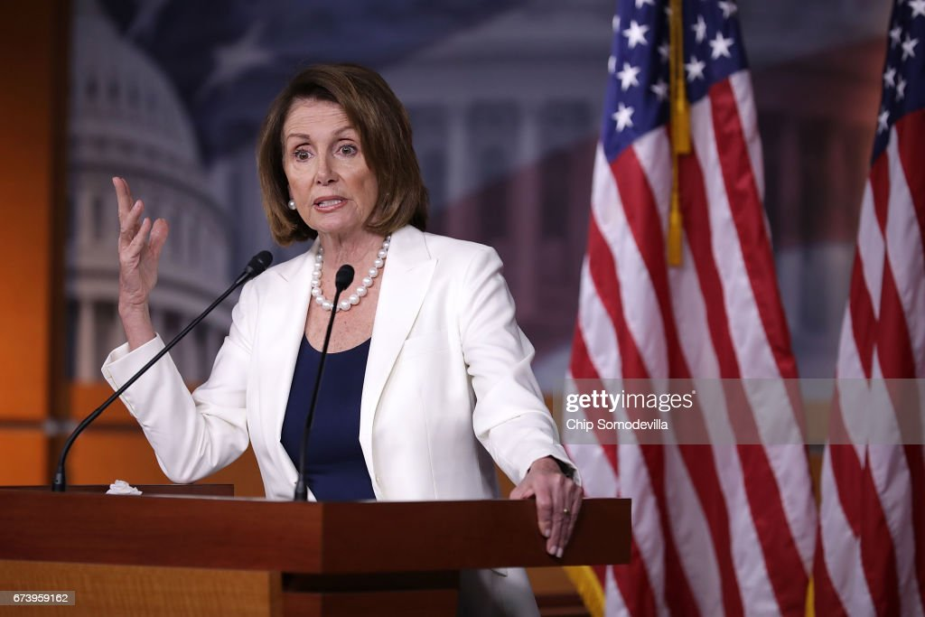 House Minority Leader Nancy Pelosi (D-CA) talks to reporters during her weekly news conference at the U.S. Capitol Visitors Center April 27, 2017 in Washington, DC. Pelosi gave President Donald Trump a letter grade for his performance as he approaches his 100th day in office.