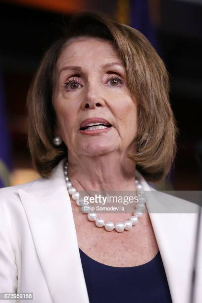 House Minority Leader Nancy Pelosi talks to reporters during her weekly news conference at the US Capitol Visitors Center April 27 2017 in Washington...