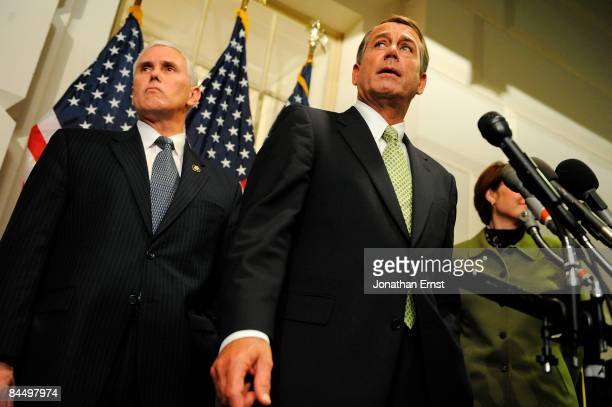 House Minority Leader Rep John Boehner and House Republican Conference Chairman Rep Mike Pence speak with reporters after meeting with President...