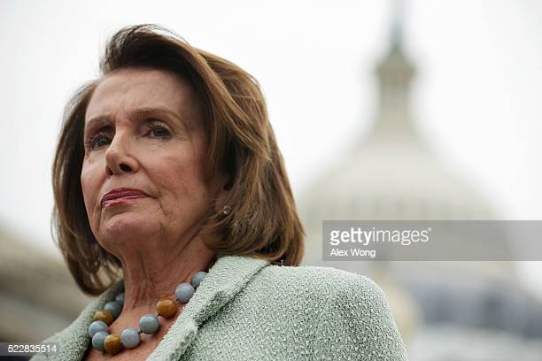 S House Minority Leader Rep Nancy Pelosi listens during a news conference April 21 2016 on Capitol Hill in Washington DC Congressional Democrats held...