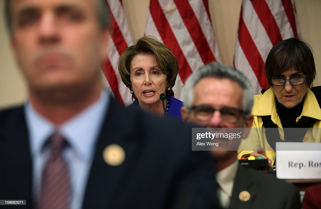 U.S. House Minority Leader Rep. <a gi-track='captionPersonalityLinkClicked' href=/galleries/search?phrase=Nancy+Pelosi&family=editorial&specificpeople=169883 ng-click='$event.stopPropagation()'>Nancy Pelosi</a> (D-CA) (2nd L) speaks as Rep. Rosa DeLauro (D-CT) (R) listens during a hearing before the House Democratic Steering and Policy Committee January 16, 2013 on Capitol Hill in Washington, DC. The committee held a hearing to focus on 'Gun Violence Prevention: A Call to Action.'