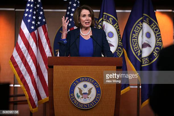 S House Minority Leader Rep Nancy Pelosi speaks during a news conference February 4 2016 on Capitol Hill in Washington DC Pelosi held the weekly news...