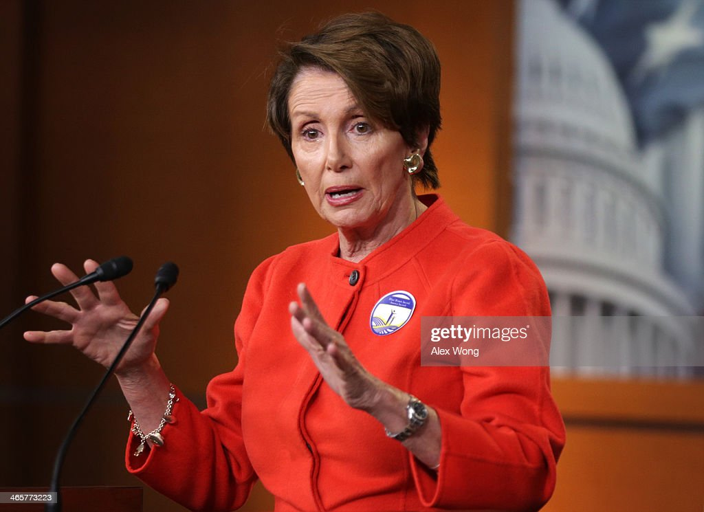 U.S. House Minority Leader Rep. <a gi-track='captionPersonalityLinkClicked' href=/galleries/search?phrase=Nancy+Pelosi&family=editorial&specificpeople=169883 ng-click='$event.stopPropagation()'>Nancy Pelosi</a> (D-CA) speaks during her weekly news conference January 29, 2014 on Capitol Hill in Washington, DC. Pelosi spoke on various topics including President Barack Obama's State of the Union address from the night before.