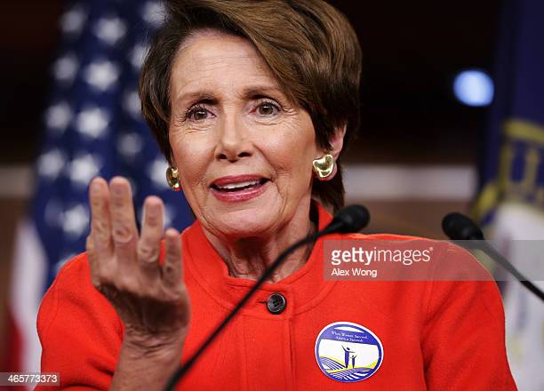 S House Minority Leader Rep Nancy Pelosi speaks during her weekly news conference January 29 2014 on Capitol Hill in Washington DC Pelosi spoke on...