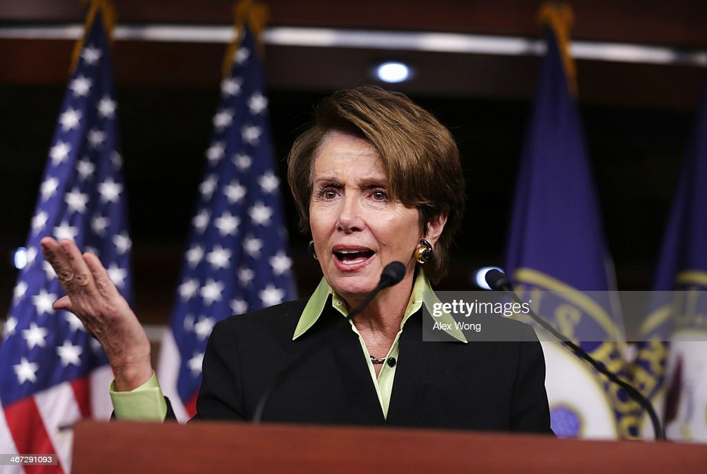 U.S. House Minority Leader Rep. <a gi-track='captionPersonalityLinkClicked' href=/galleries/search?phrase=Nancy+Pelosi&family=editorial&specificpeople=169883 ng-click='$event.stopPropagation()'>Nancy Pelosi</a> (D-CA) speaks during her weekly news conference February 6, 2014 on Capitol Hill in Washington, DC. Pelosi discussed Democratic agenda with members of the media at the news conference.