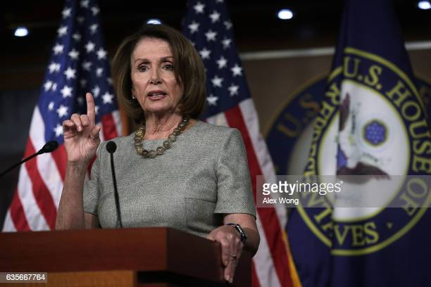 S House Minority Leader Rep Nancy Pelosi speaks during her weekly news conference February 16 2017 on Capitol Hill in Washington DC Pelosi held the...