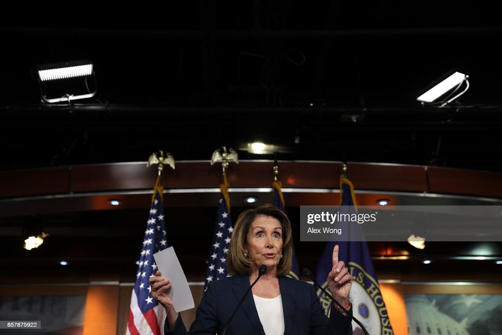 U.S. House Minority Leader Rep. Nancy Pelosi (D-CA) speaks during her weekly news conference October 5, 2017 on Capitol Hill in Washington, DC. Pelosi held her weekly news conference to answer questions from members of the media.