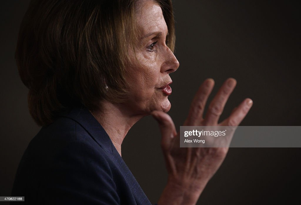 U.S. House Minority Leader Rep. Nancy Pelosi (D-CA) speaks during her weekly press conference April 23, 2015 on Capitol Hill in Washington, DC. Pelosi spoke on various topics including the trade legislation.