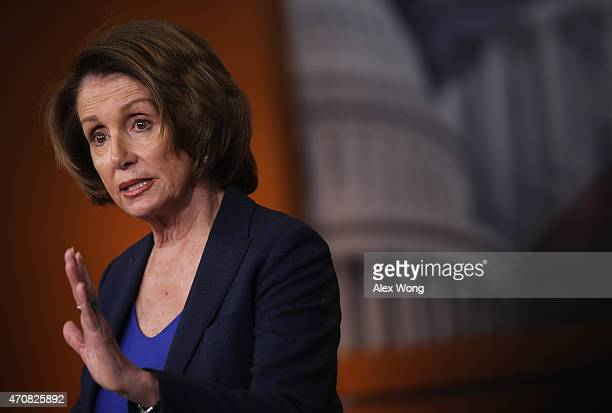 S House Minority Leader Rep Nancy Pelosi speaks during her weekly press conference April 23 2015 on Capitol Hill in Washington DC Pelosi spoke on...