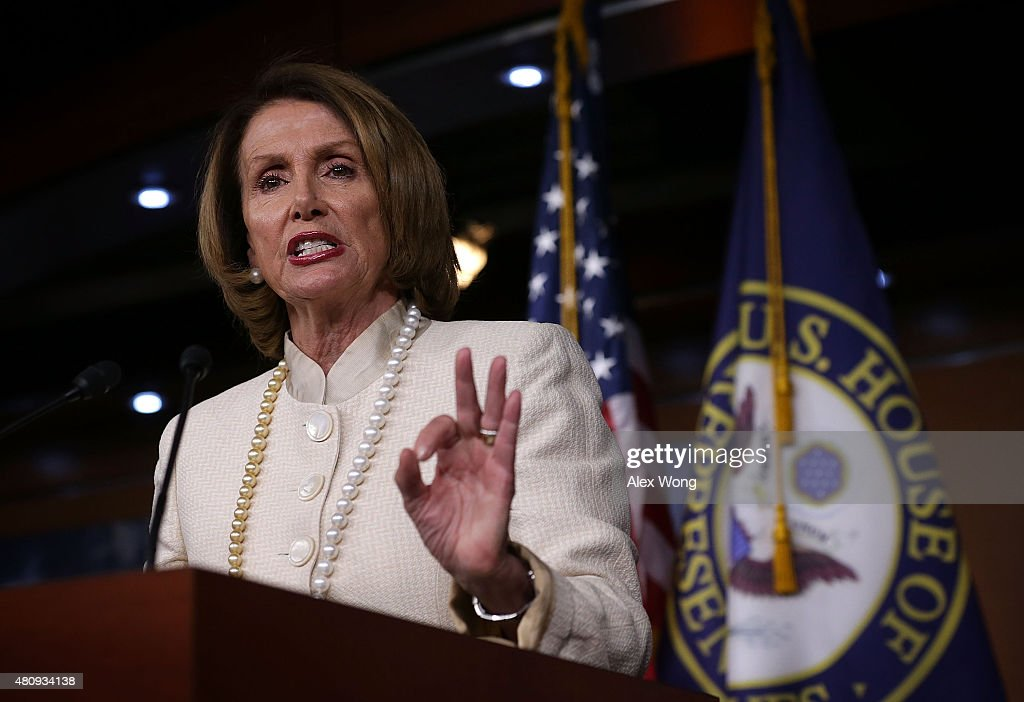U.S. House Minority Leader Rep. <a gi-track='captionPersonalityLinkClicked' href=/galleries/search?phrase=Nancy+Pelosi&family=editorial&specificpeople=169883 ng-click='$event.stopPropagation()'>Nancy Pelosi</a> (D-CA) speaks to members of the media July 16, 2015 on Capitol Hill in Washington, DC. Pelosi held up a copy of the Joint Comprehensive Plan of Action of the Iran nuclear deal as she announced her support on the deal.