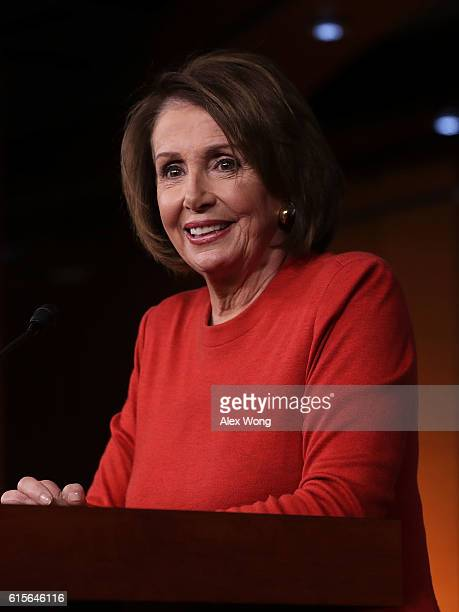 S House Minority Leader Rep Nancy Pelosi speaks to members of the media on Capitol Hill October 19 2016 in Washington DC Pelosi held her weekly news...