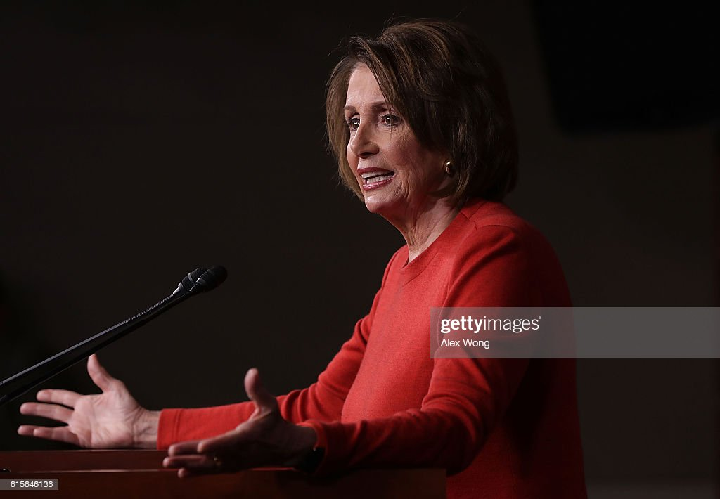 U.S. House Minority Leader Rep. Nancy Pelosi (D-CA) speaks to members of the media on Capitol Hill October 19, 2016 in Washington, DC. Pelosi held her weekly news conference to answer questions from the media.