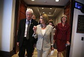 S House Minority Leader Rep Nancy Pelosi talks to actor Richard Gere after a hearing before the Tom Lantos Human Rights Commission July 14 2015 on...