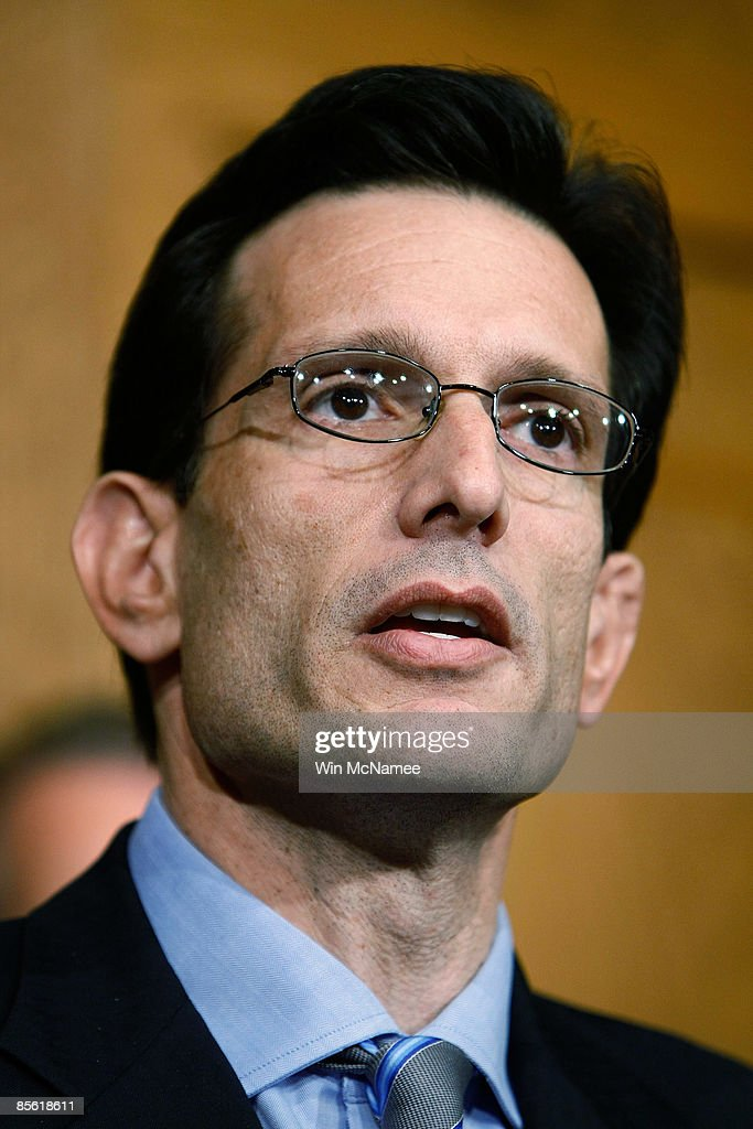 House Minority Whip <a gi-track='captionPersonalityLinkClicked' href=/galleries/search?phrase=Eric+Cantor&family=editorial&specificpeople=653711 ng-click='$event.stopPropagation()'>Eric Cantor</a>, (R-VA) speaks during a press conference March 26, 2009 in Washington, DC. Boehner said during the news conference that Republicans would release details of their proposal later next week.