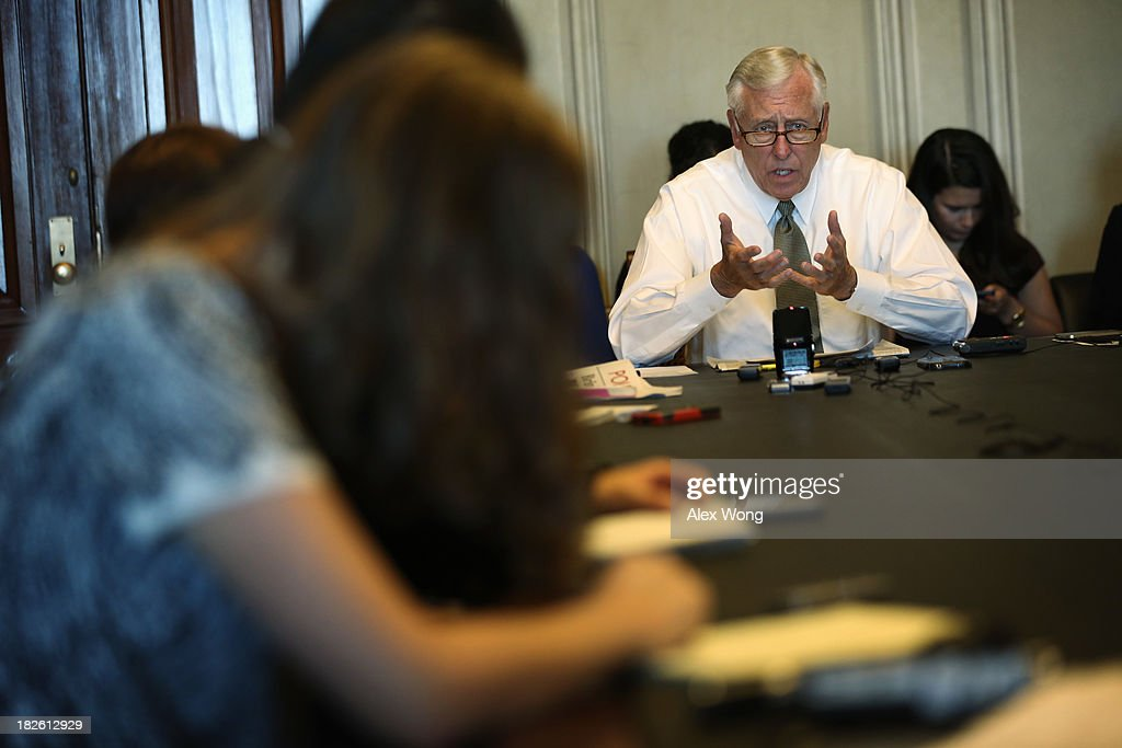 U.S. House Minority Whip Rep. <a gi-track='captionPersonalityLinkClicked' href=/galleries/search?phrase=Steny+Hoyer&family=editorial&specificpeople=588093 ng-click='$event.stopPropagation()'>Steny Hoyer</a> (D-MD) speaks during a pen and pad October 1, 2013 on Capitol Hill in Washington, DC. Rep. Hoyer blamed the House Republicans for failing to avoid a government shutdown.