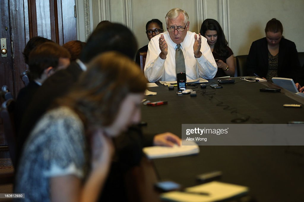 U.S. House Minority Whip Rep. Steny Hoyer (D-MD) speaks during a pen and pad October 1, 2013 on Capitol Hill in Washington, DC. Rep. Hoyer blamed the House Republicans for failing to avoid a government shutdown.