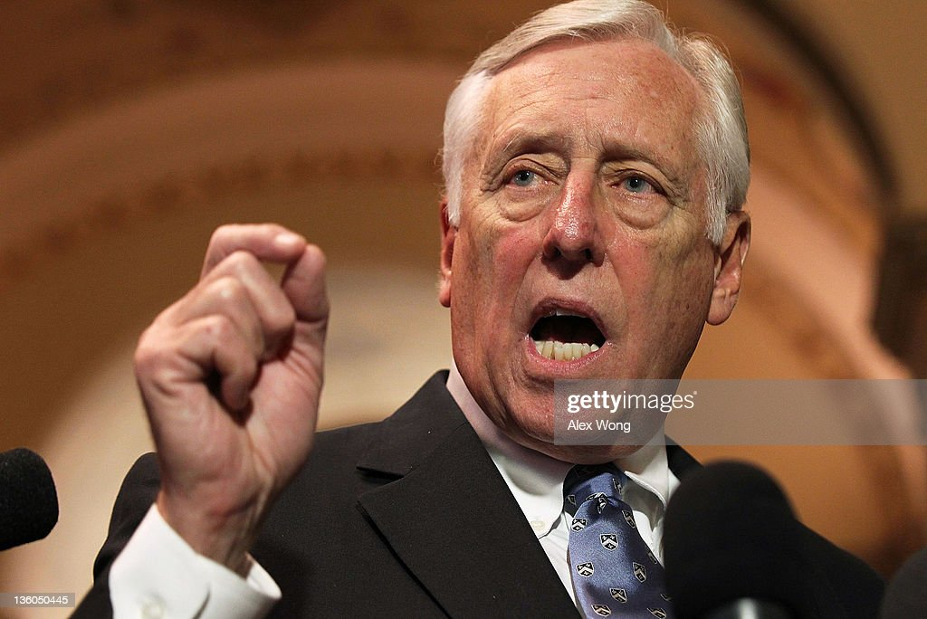 U.S. House Minority Whip Rep. <a gi-track='captionPersonalityLinkClicked' href=/galleries/search?phrase=Steny+Hoyer&family=editorial&specificpeople=588093 ng-click='$event.stopPropagation()'>Steny Hoyer</a> (D-MD) speaks to the media December 21, 2011 on Capitol Hill in Washington, DC. The House Democratic leaders responded to the accusations from the House Republicans of not forming a panel to negotiate the payroll tax cut extension bill, after the House rejected the version approved by the Senate.