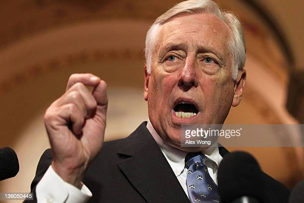 S House Minority Whip Rep Steny Hoyer speaks to the media December 21 2011 on Capitol Hill in Washington DC The House Democratic leaders responded to...