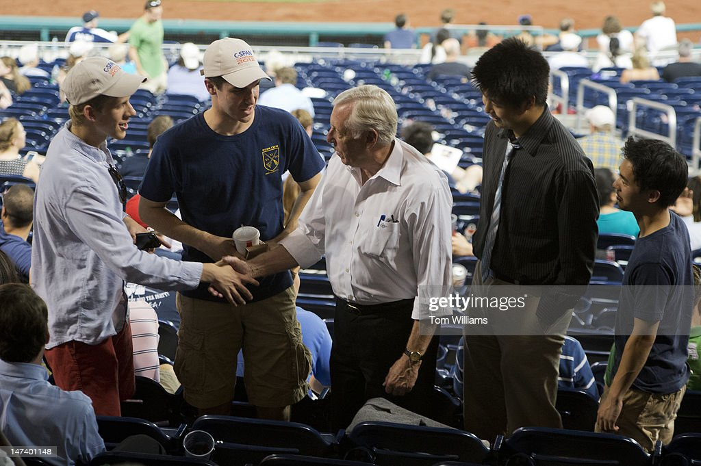 House Minority Whip Steny Hoyer, D-Md., greets fans during the 51st Annual CQ Roll Call Congressional Baseball Game held at Nationals Park. The Democrats prevailed over the Republicans 18-5.