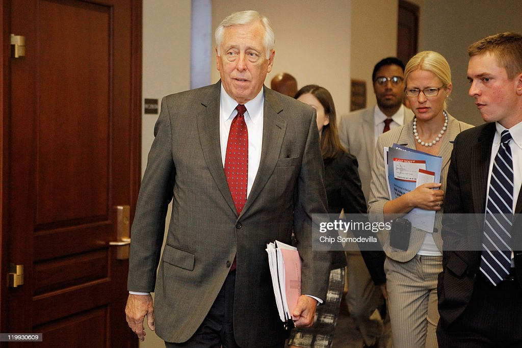 House Minority Whip Steny Hoyer (D-MD) (L) leaves a House Democratic caucus meeting in the U.S. Capitol Visitors Center July 27, 2011 in Washington, DC. Democrats and Republicans continue to meet separately to discuss strategy as the deadline for the federal debt ceiling looms and negotiations between Congress and the White House falter.