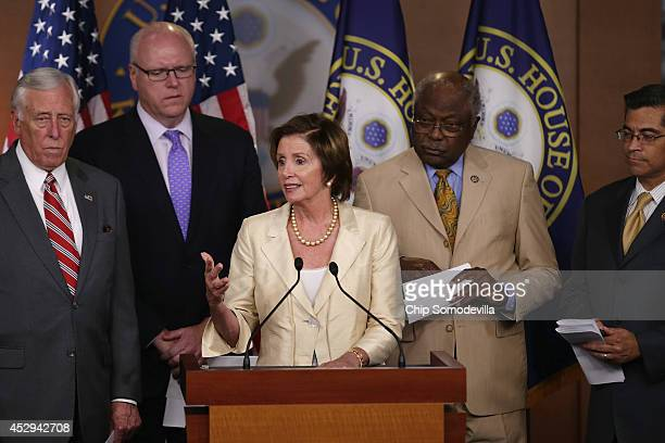 House Minority Whip Steny Hoyer Rep Joseph Crowley House Minority Leader Nancy Pelosi Rep James Clyburn and Rep Xavier Becerra hold a news conference...