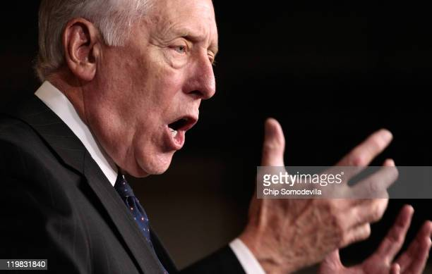 House Minority Whip Steny Hoyer speaks during a news conference with members of the House Democratic caucus July 25 2011 in Washington DC The...