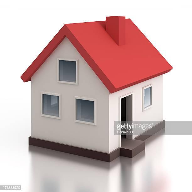 Casa modello-isolato su bianco con percorso clip