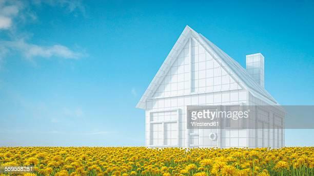 House model on flower meadow