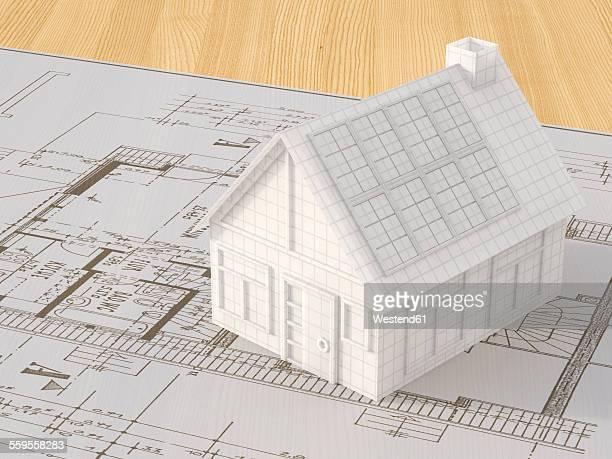 House model on ground plan