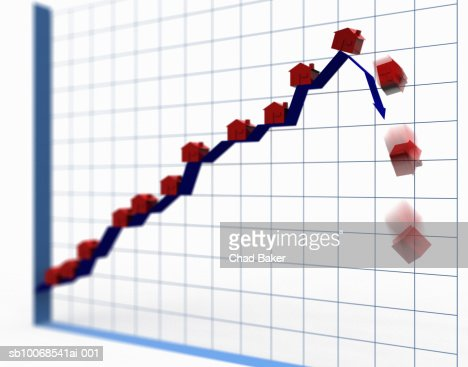 House models falling off of top of chart, digitally generated : Stock Photo