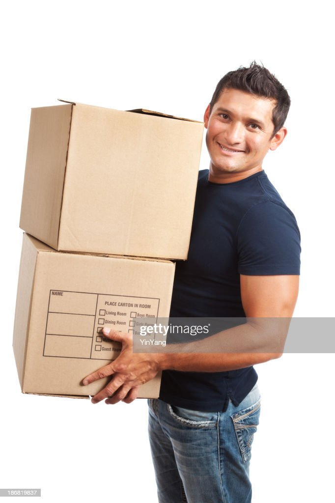 House Mover Holding  Moving Carboard Boxes on White Background