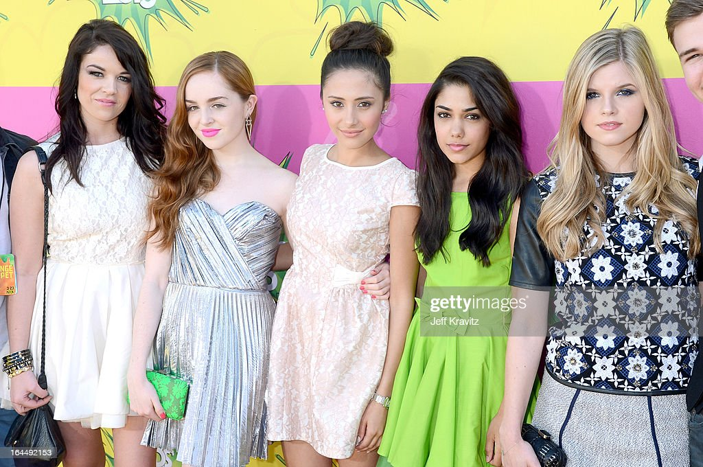 'House of Anubis' cast members Jade Ramsey, Louisa Connolly-Burnham, Klariza Clayton, Tasie Lawrence, and Ana Mulvoy-Ten arrives at Nickelodeon's 26th Annual Kids' Choice Awards at USC Galen Center on March 23, 2013 in Los Angeles, California.