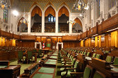 An image of the interior of the House of Commons - parliament in Canada. Green Chamber. Parliament Hill, Ottawa, Ontario, Canada. See more in my profile.