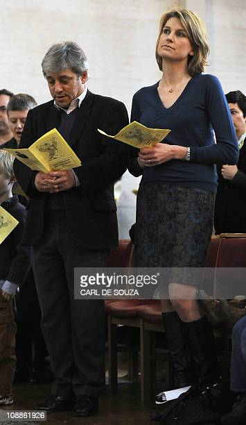 House of Commons Speaker John Bercow and his wife Sally Bercow attend a church service at Holy Trinity Church in Dalston London on February 6 2011...