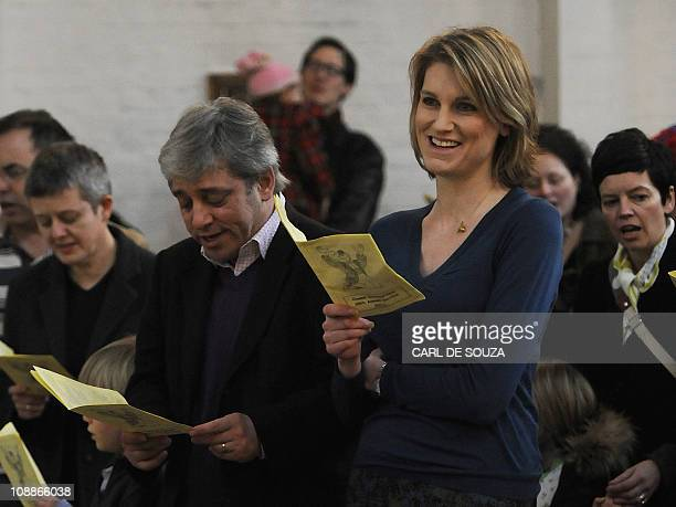House of Commons Speaker John Bercow and his wife Sally Bercow sing as they attend a church service at Holy Trinity Church in Dalston London on...