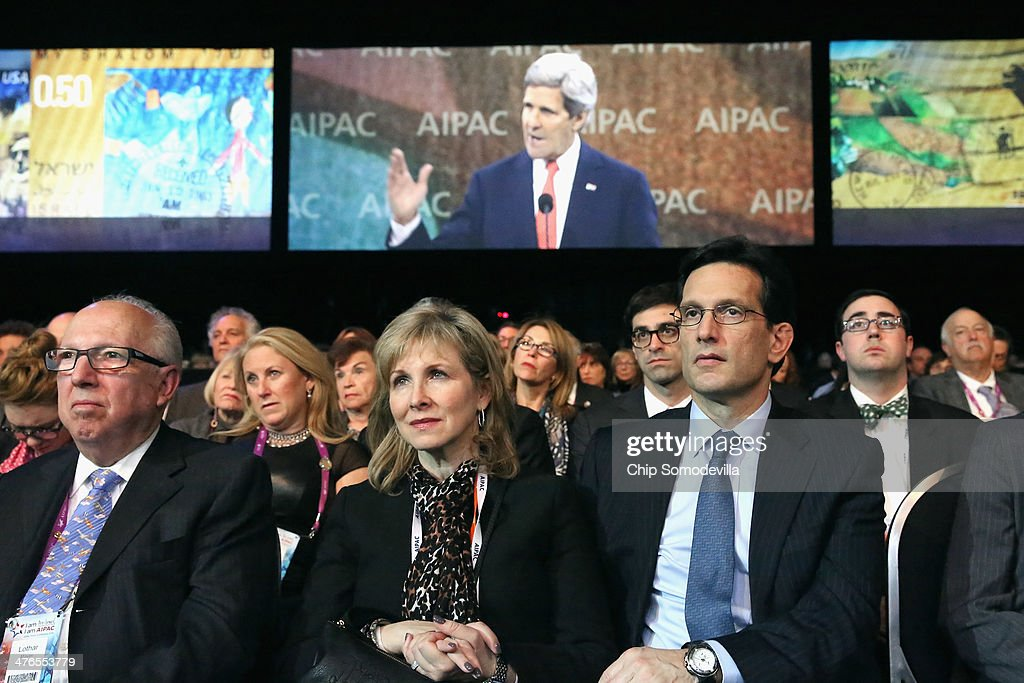 House of Representatives Majority Leader Eric Cantor (R-VA) (3rd R) and his wife Diana Cantor (C) listen to U.S. Secretary of State John Kerry deliver remarks during the American Israel Public Affairs Committee's Policy Conference at the Walter Washington Convention Center March 3, 2014 in Washington, DC. Kerry is scheduled to leave directly from the AIPAC conference to travel to Kiev to meet with members of Ukraine's new government.