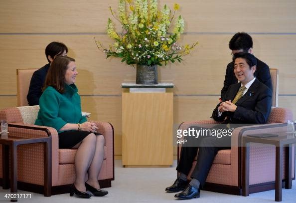 US House of Representatives member Diana DeGette and Japanese Prime Minister Shinzo Abe attend a meeting at the latter's official residence in Tokyo...