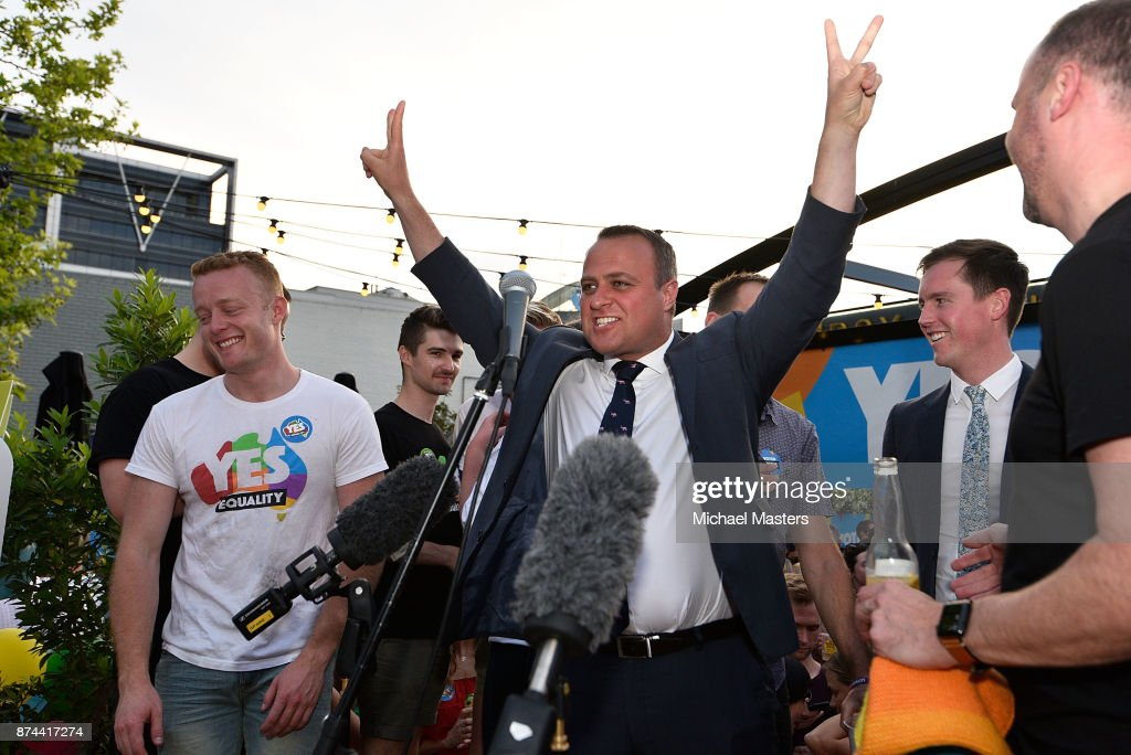 House of Representatives Member, Tim Wilson, addresses a large crowd gathered on Lonsdale Street in Canberra to celebrate the results of the same-sex marriage survey on November 15, 2017 in Canberra, Australia. Australians have voted for marriage laws to be changed to allow same-sex marriage, with the Yes vote claiming 61.6% to to 38.4% for No vote. Despite the Yes victory, the outcome of Australian Marriage Law Postal Survey is not binding, and the process to change current laws will move to the Australian Parliament in Canberra. (Photo by Michael Masters/Getty Images