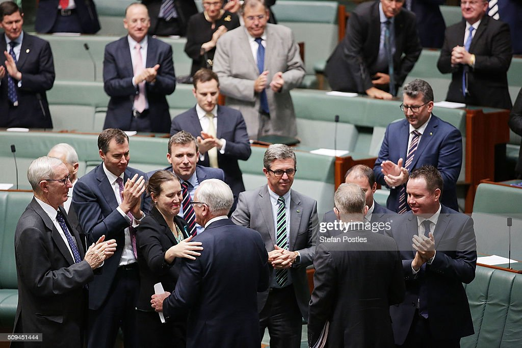 House of Representatives members congratulate Minister for Trade and Investment Andrew Robb after he spoke of his retirement in the House of Representatives on February 11, 2016 in Canberra, Australia. Nationals Leader and Deputy Prime Minister Warren Truss and Trade Minister Andrew Robb will retire at the next election.