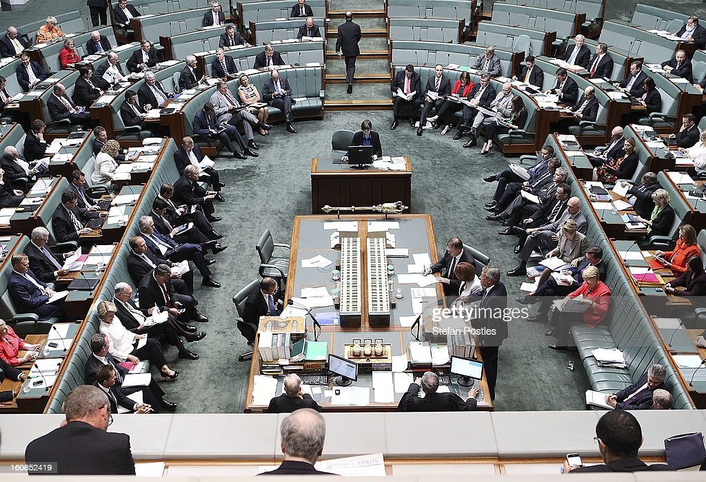 House of Representatives question time at Parliament House on February 7, 2013 in Canberra, Australia. Parliament resumes for the first sitting of 2013 this week, just days after Prime Minister Gillard, announced a federal election date of September 14, 2013.
